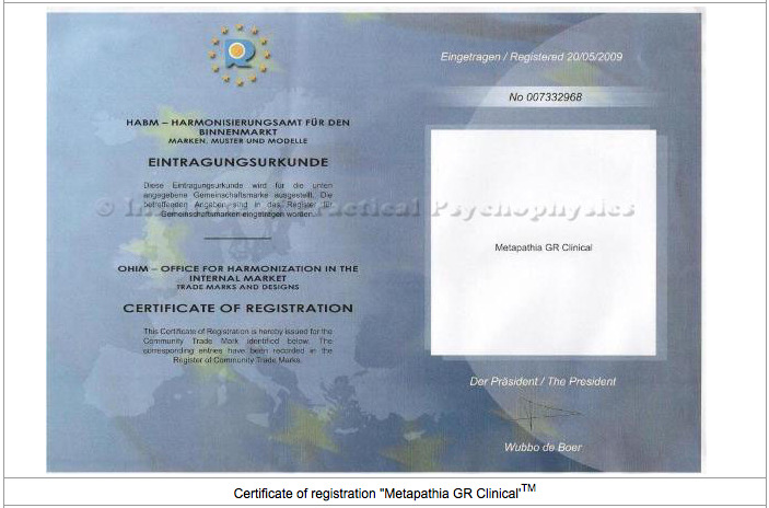 Certificat Metapathia Clinical
