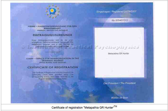 Certificat Metapathia Hunter